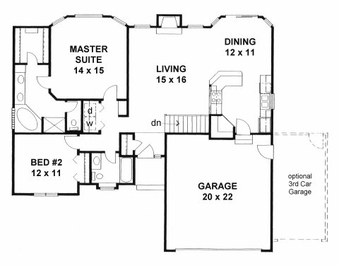 plan 1273 2 bedroom w walk in closets and bay windows 20193 | 1273f